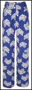 Blue Floral Palazzo Trousers.