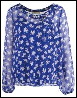 Blue White Print Bow Blouse.