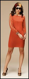Burnt Orange Dress With Long Sleeves - Alexon.