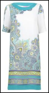 Pastel Aqua Lemons Scarf Print 60's Retro Dress.