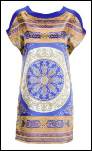 Blue/Gold Scarf Circle Kaleidoscope Border Print Tunic Dress.