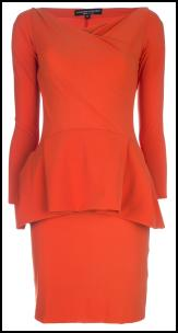 Tangerine Coral Peplum Dress.