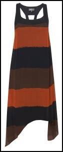 Black, Orange And Brown Horizontal Striped Dress.