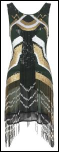 Black Gold Geometric Aztec Beaded Fringe Ivie Dress.