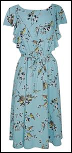 Dorothy Perkins SS12 Turquoise Bird Printed Polyester Dress.