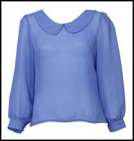Blue Sheer Peter Pan Collared Blouse.