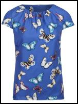 Blue White Butterfly Top.