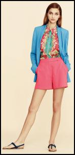 Warehouse Blue Jacke, Pink Shorts, Paisley Blouse.