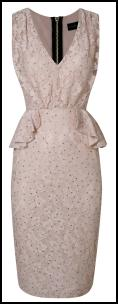 Pastel Pink Lace Peplum Dress.