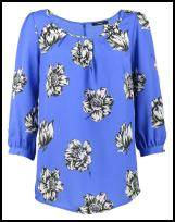 George at ASDA Blue Large Flower Print Loose Blouse.