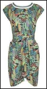 Green Feather Scarf Print Dress.