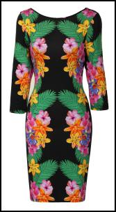 Mirror Print Tropical Bodycon Dress.