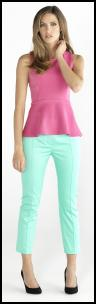 Pastel Colours - Aqua Mint Capri Pants, Pink Peplum Top