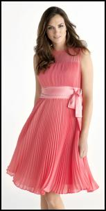 Salmon Coral Pink Pleat Chiffon Dress.