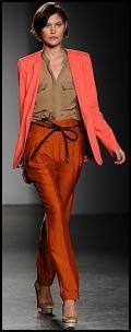 Matthew Williamson - Burnt Orange Tangerine Narrow Pants and Coral Jacket.