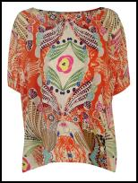 Orange Loose Silk Kaftan Top Blouse.