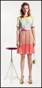 Salmon Orange Pleated Skirt & Lemon Mix Top.