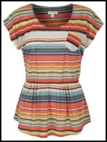 Saira Stripe Gathered Peplum Vest Top.