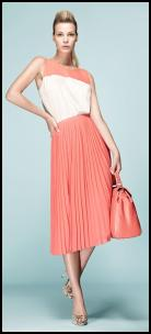 Coral/White Silk Vest, Coral Pleated Midi Skirt.