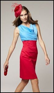 Precis Petite - Colour Block Petite Coral & Blue Cowl Dress.