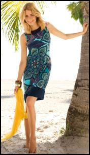 Betty Barclay Blue Scarf Print Dress.