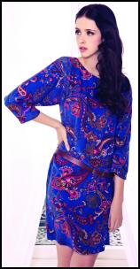 Viyella Ocean Paisley Short Blue Tunic Dress.