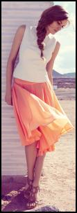 Peach Orange Hip Yoke Summer Skirt.