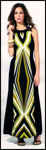 Black Yellow Stripe Tribal Print Maxi Dress.