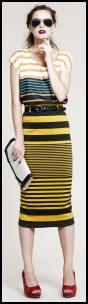 Black & Yellow Striped Top & Skirt.