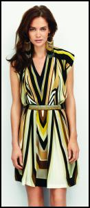 Yellow Black Stripe Geometric Print Dress.