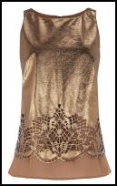 Oasis Bronze Leather Laser Cut Lace Top.