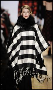Black and White Blanket Check Poncho By Kors.
