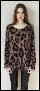 Animal Pattern Long Tunic Sweater.