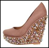 Nude Beaded Wedge Shoe.