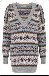 Traditional Grey Mix Fair Isle Tunic Long Line Sweater