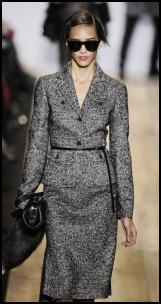 Ladylike Grey Tweed Fitted Waist Skirt Suit By Kors.