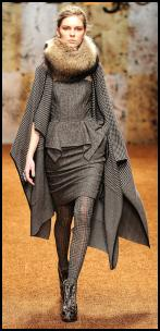Biagiotti Loose Cape Coat and Peplum Dress.
