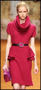 Red Cowl Neckline Peplum Dress.