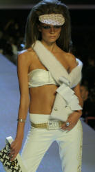 Baby Phat white mink sash with white satin bows.