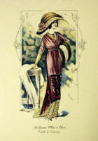Fashion Plate Reprints Titanic Era - Dark Pink Dress