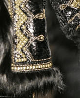 Roberto Cavalli�s fox trim Russian jacket detail