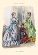 The Englishwoman's Domestic Magazine Fashions 1869 - Grey and green dresses.