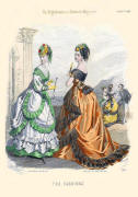 The Englishwoman's Domestic Magazine Fashions 1869 - Ginger and black trimmed soft bustle evening gown.