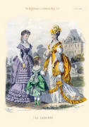 The Englishwoman's Domestic Magazine Fashions 1869 - Gold and lilac soft bustle evening gowns.