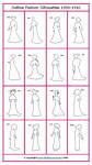 1900 to 10 alternative white outline silhouettes for costume work.