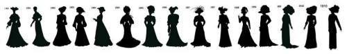 Timeline 1900 to 1910 black silhouettes for stencil and collage work in cotume history.