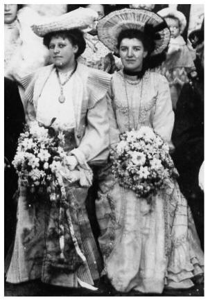 Elizabeth Meakin and bridesmaid in their dresses.