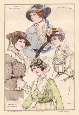 1914 - Blouses known as waists all featuring the scandalous V neck of the era and worn with attractive matching day hats.