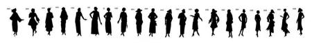 Blacked out stencil timeline of fashion history of the 1920s.