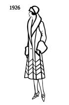 Silhouette line drawing of at knee coat - 1926